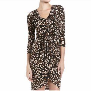 BCBG Animal Print Jersey Knit Wrap Dress